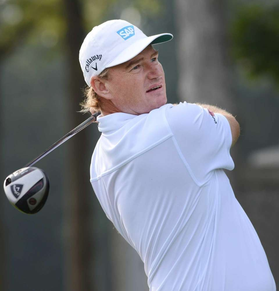 Ernie Els of South Africa tees off on