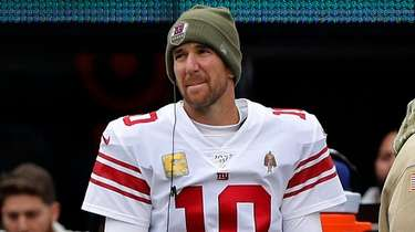 Eli Manning of the Giants looks on against