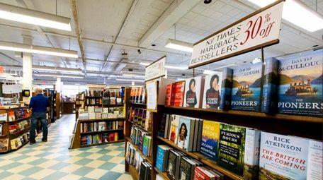 Bestsellers on display at Book Revue in Huntington.