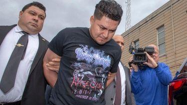 Ever Martinez-Reyes outside Nassau County police headquarters on