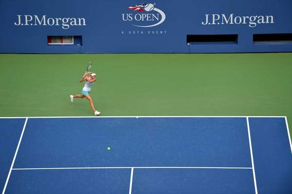 Russian Maria Sharapova practices in Arthur Ashe Stadium