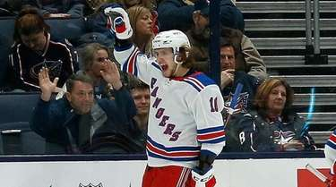 Artemi Panarin of the Rangers celebrates after scoring