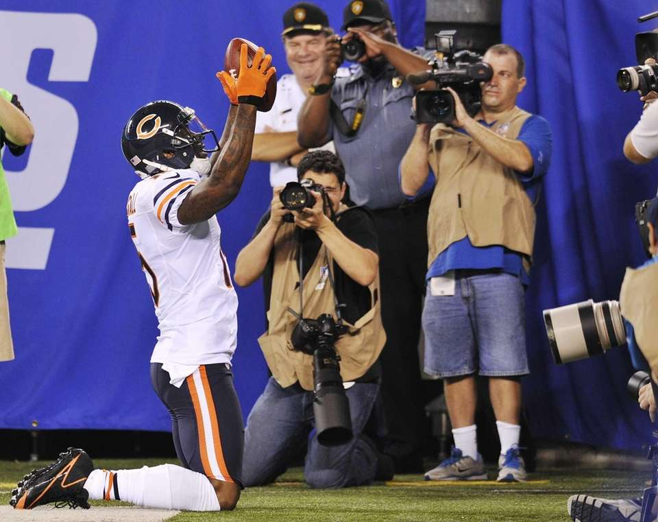 Chicago Bears wide receiver Brandon Marshall celebrates after