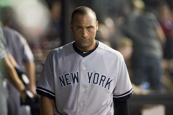 Derek Jeter reacts after striking out during the