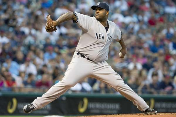 CC Sabathia pitches during the third inning of