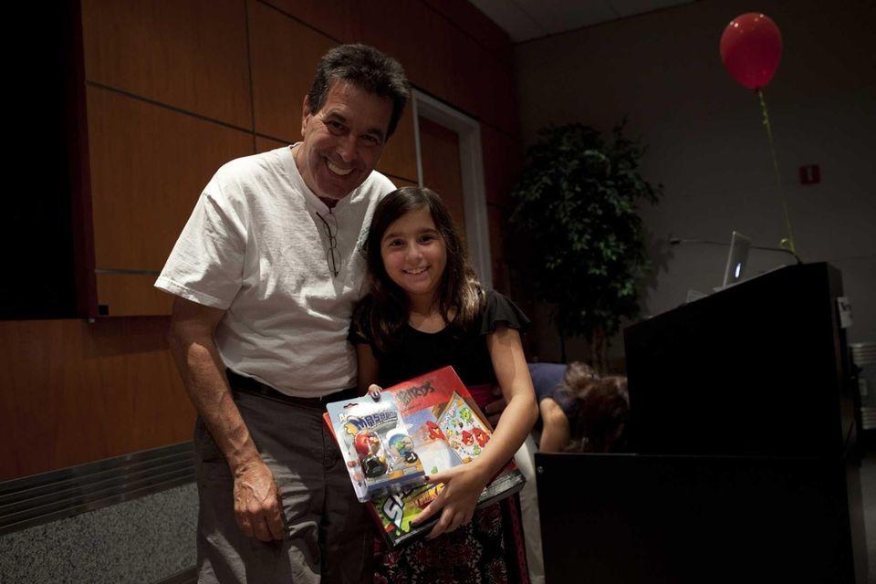 Rachel Haimowitz, 11, with her dad, Steve, of