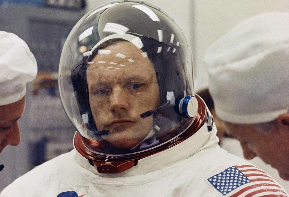 Astronaut Neil Armstrong in space suit (1969)