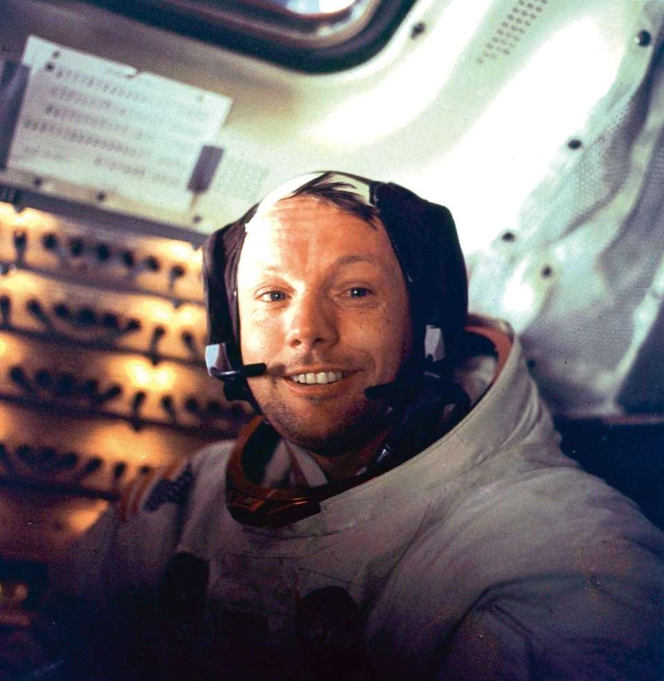 U.S. astronaut Neil Armstrong is seen smiling at