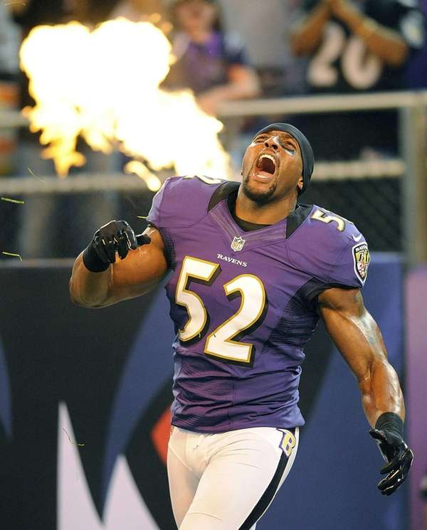 Baltimore Ravens linebacker Ray Lewis reacts as he