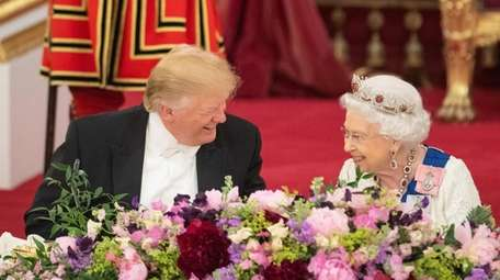 President Donald Trump and Queen Elizabeth II attend