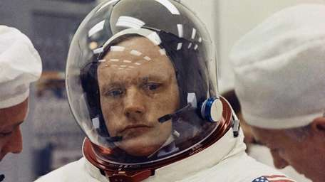 Astronaut Neil Armstrong in space suit in 1969.