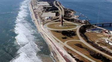 An aerial view of Robert Moses State Park