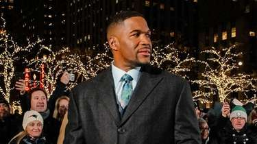 Michael Strahan on the set of Fox Sports'
