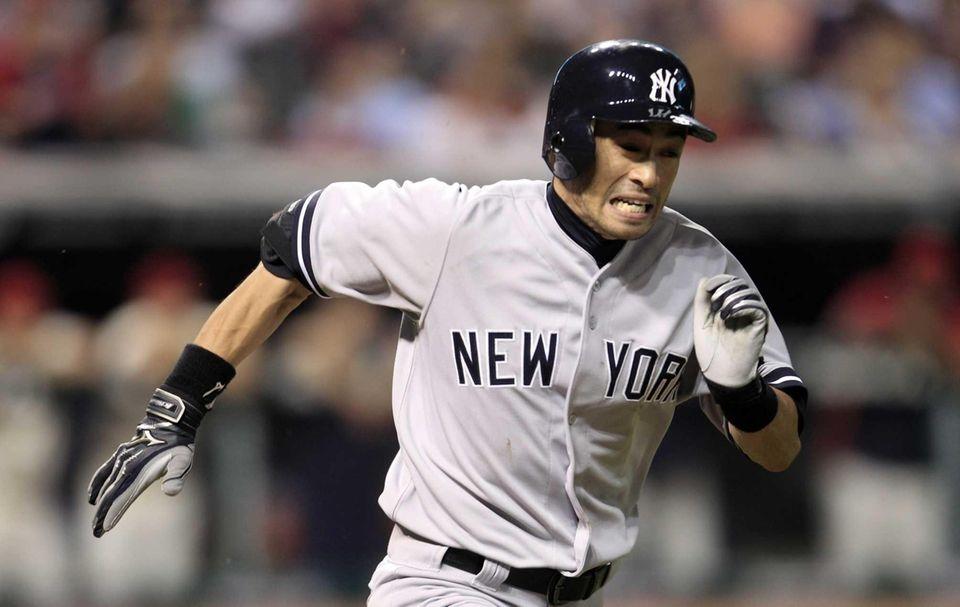 Ichiro Suzuki runs out a ground ball in