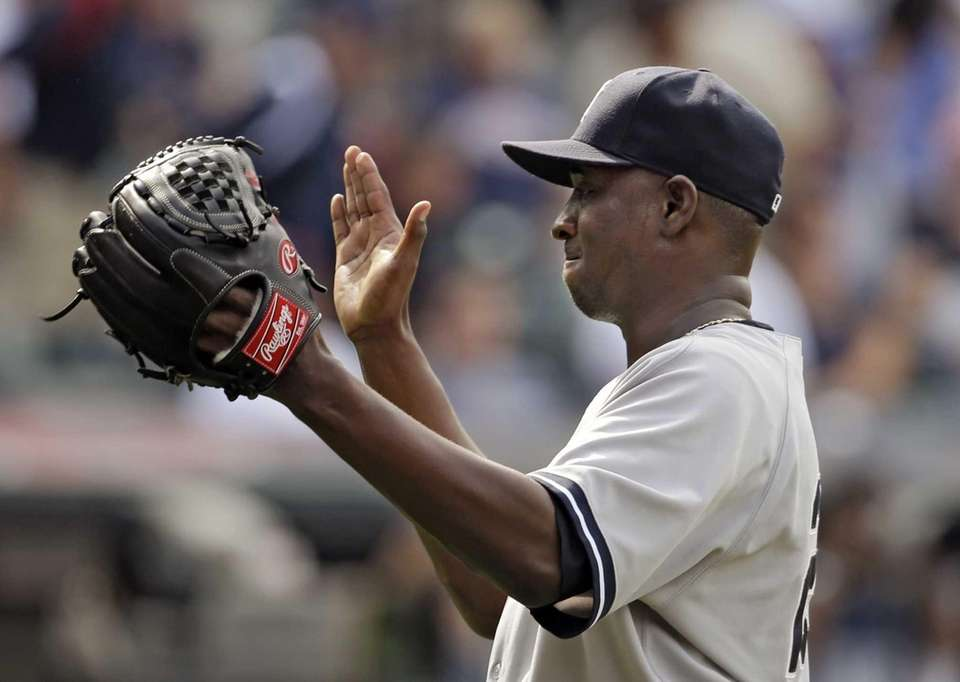 New York Yankees relief pitcher Rafael Soriano celebrates
