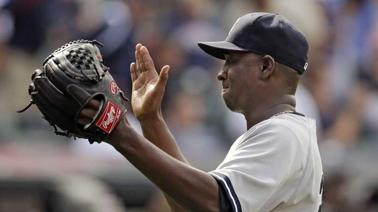 New York Yankees relief pitcher Rafael Soriano celebrates
