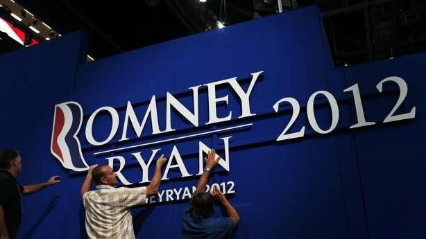 Workers set up for the Republican National Convention
