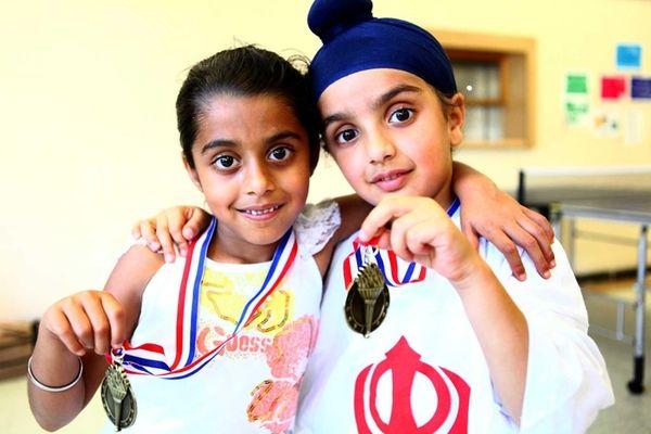 Rabani K. Arneja (left), 5, of Dix Hills,