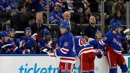 The Rangers react after the Montreal Canadiens scored