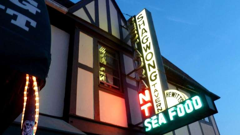 The neon sign of Shagwong in Montauk.