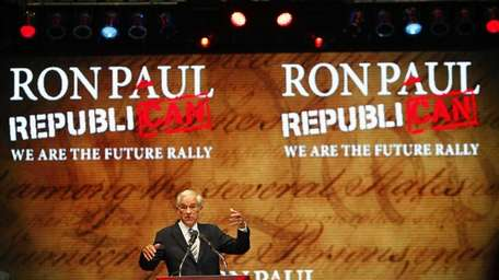 Rep. Ron Paul speaks during his We are