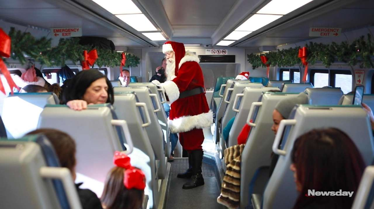 The LIRR Holiday Express train left Ronkonkoma station