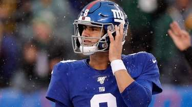 Daniel Jones of the Giants looks on during