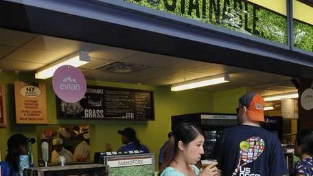 Customers order food at the Farm2Fork restaurant at