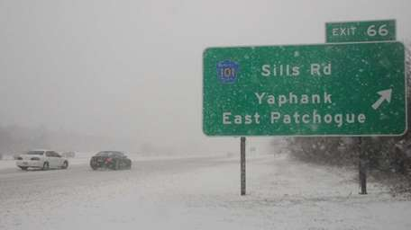 Snow covered LIE along the eastbound LIE at