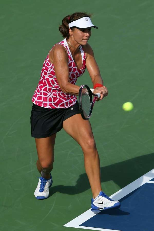 Varvara Lepchenko of the United States returns a