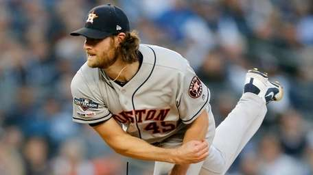 Gerrit Cole of the Houston Astros pitches during