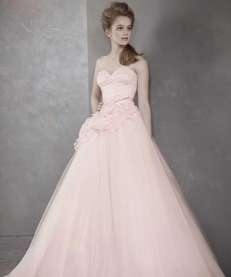 White by Vera Wang's blush strapless ball gown,