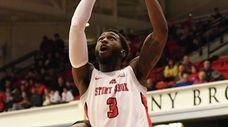 Stony Brook guard Elijah Olaniyi shoots for a