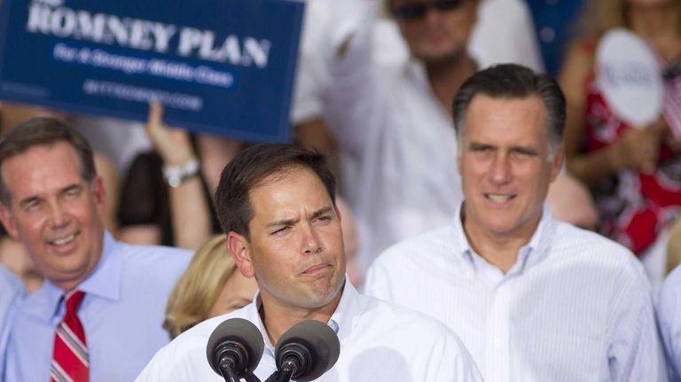 Sen. Marco Rubio (R-Fla.) introduces Mitt Romney, back
