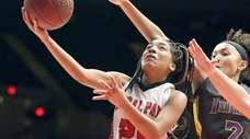 Floral Park's Jaeda Delsoin gets a bucket during