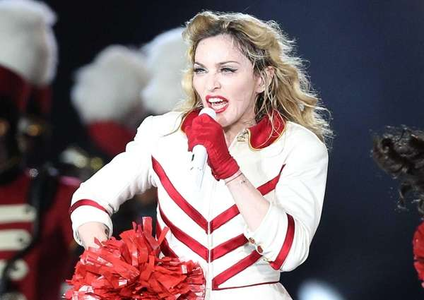 Madonna performs during her MDNA tour in Nice,