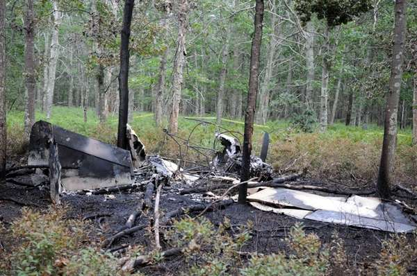 Wreckage of the charred single engine plane in