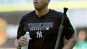 Alex Rodriguez heads back to the clubhouse after