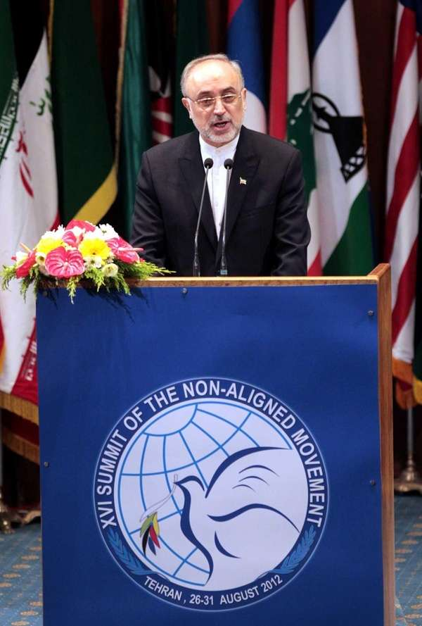 Iranian Foreign Minister Ali Akbar Salehi delivers his