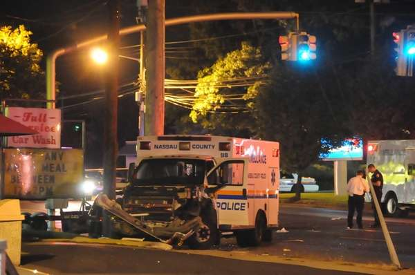 A Nassau County police ambulance was involved in