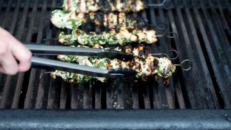 Garlic and herb chicken kebabs are also good