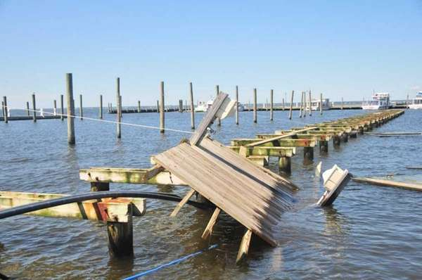Boat docks at Davis Park on Fire Island