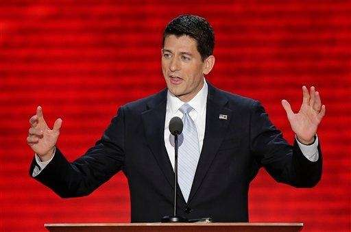 Republican vice presidential nominee, Rep. Paul Ryan addresses