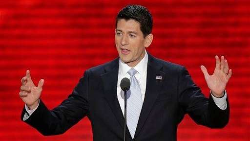 Republican vice presidential nominee, Rep. Paul Ryan addresses