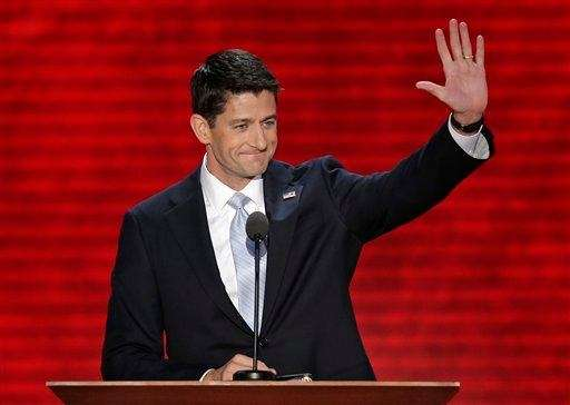 Republican vice presidential nominee Rep. Paul Ryan waves