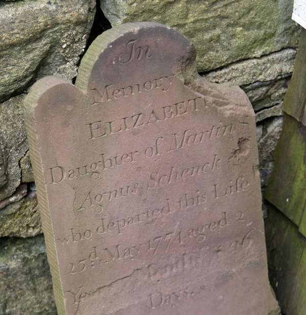 The headstone for Elizabeth Schenck was found at