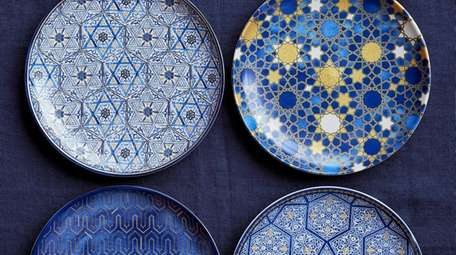 Dine on these Williams-Sonoma Hannukah blue mosaic salad