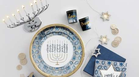 Festive Hanukkah party items available at Party City
