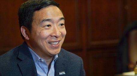Democratic presidential candidate businessman Andrew Yang speaks during