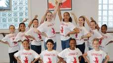 The Kidsday reporters and Leggz Ltd. dancers learning